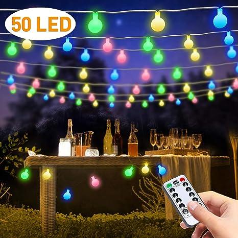 LED Luces Navidad, Guirnalda Luces Exterior Pilas, Luces Decorativas Habitacion, FishOaky 7M /