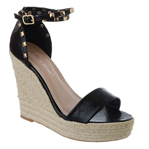 09abc6a2e Ladies Womens HIGH Heel Wedge Espadrilles Studded Ankle Strap Sandals Shoes  Size  Black Faux Leather