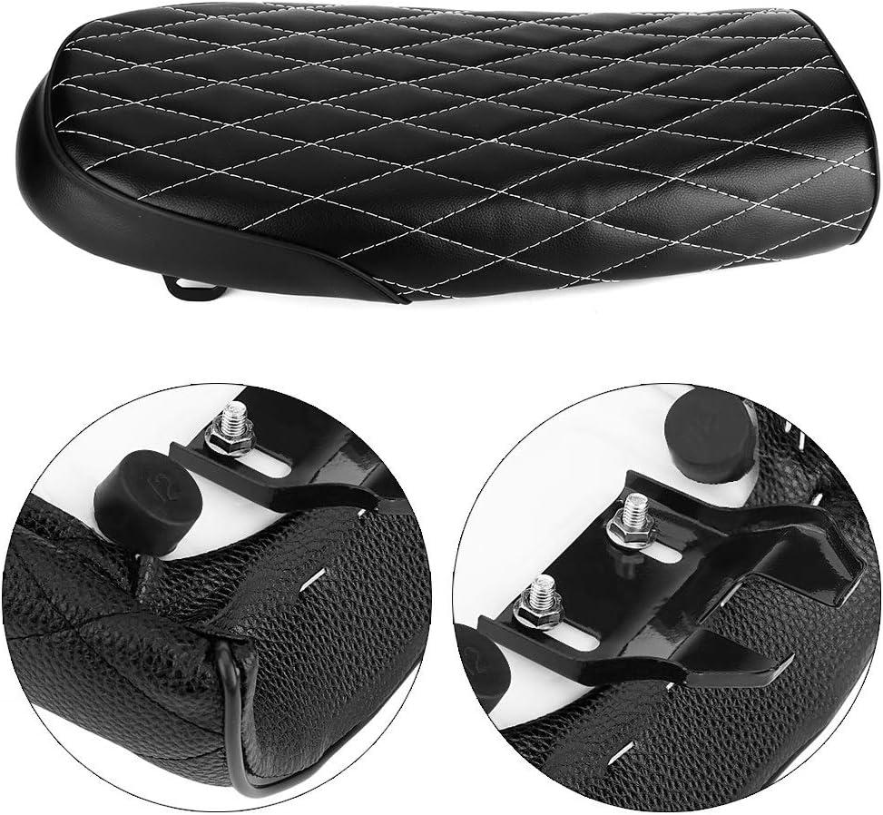 Cuscino sedile moto cuscino sedile moto in pelle PU vintage Cafe Racer sedile piatto cuscino della sella per CG125 GN CG CB400SS nero