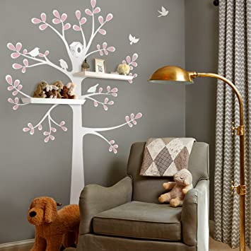 New Style Shelving Tree Wall Sticker With Birds   By Simple Shapes  (Standard Size (