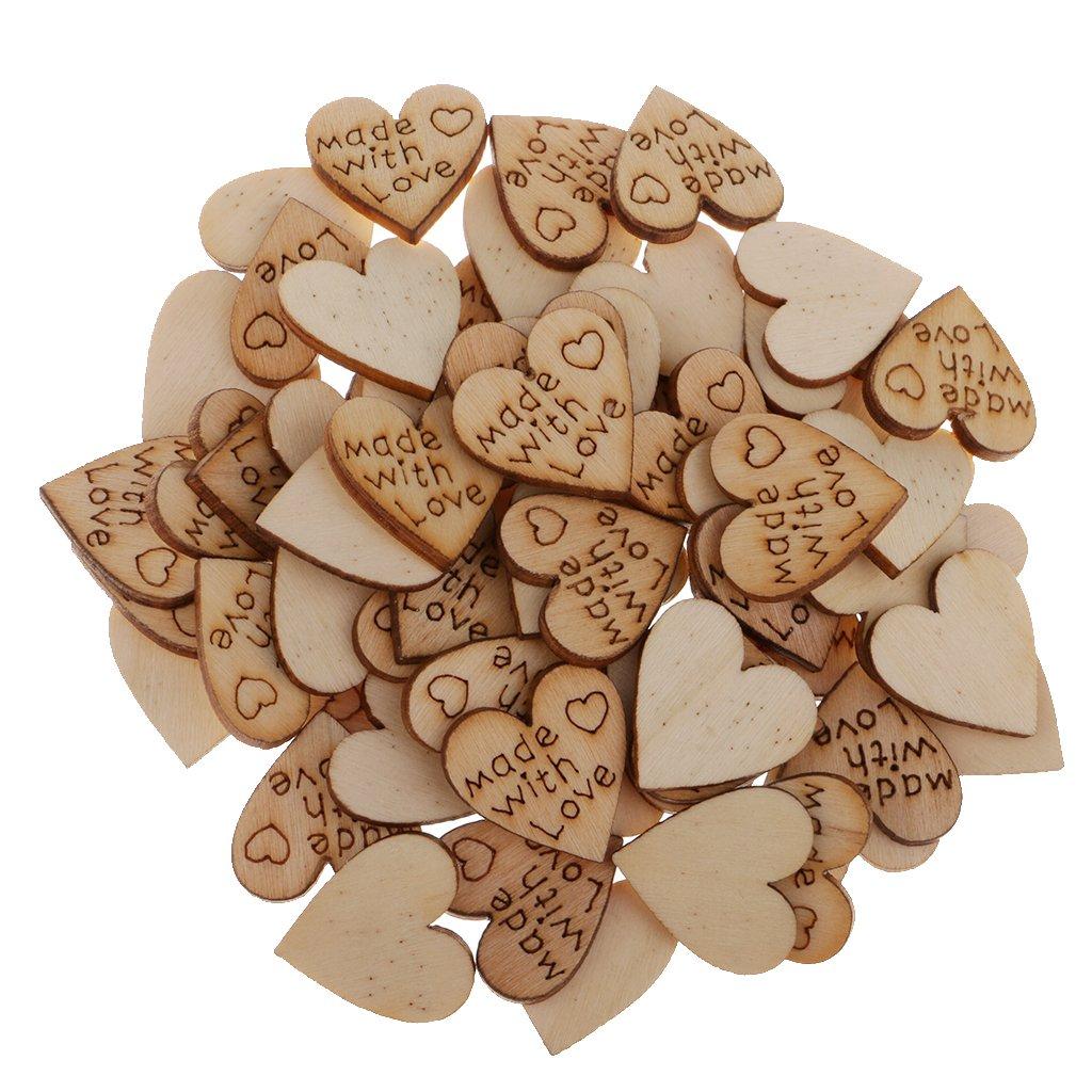 Baoblaze 100 St/ück Holzherzen Scheiben Naturholzscheiben Holz unlackiert f/ür DIY Basteln Weihnachten Hochzeit Geburtztag Feiertag Dekoration