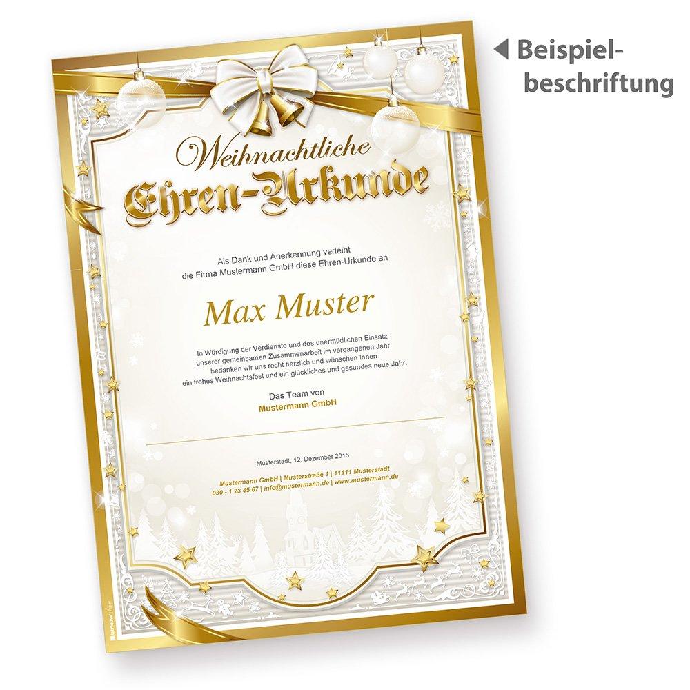 Tatmotive 05 0109 0090 20100 Ehren Urkunde Weihnachten Golden Royal