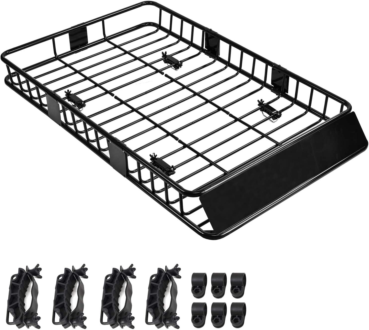 SUNCOO 64 Inch Universal Roof Rack Cargo Basket Extension with 250 Lbs Capacity Car Top Luggage Holder Wind Fairing Cargo Carrier