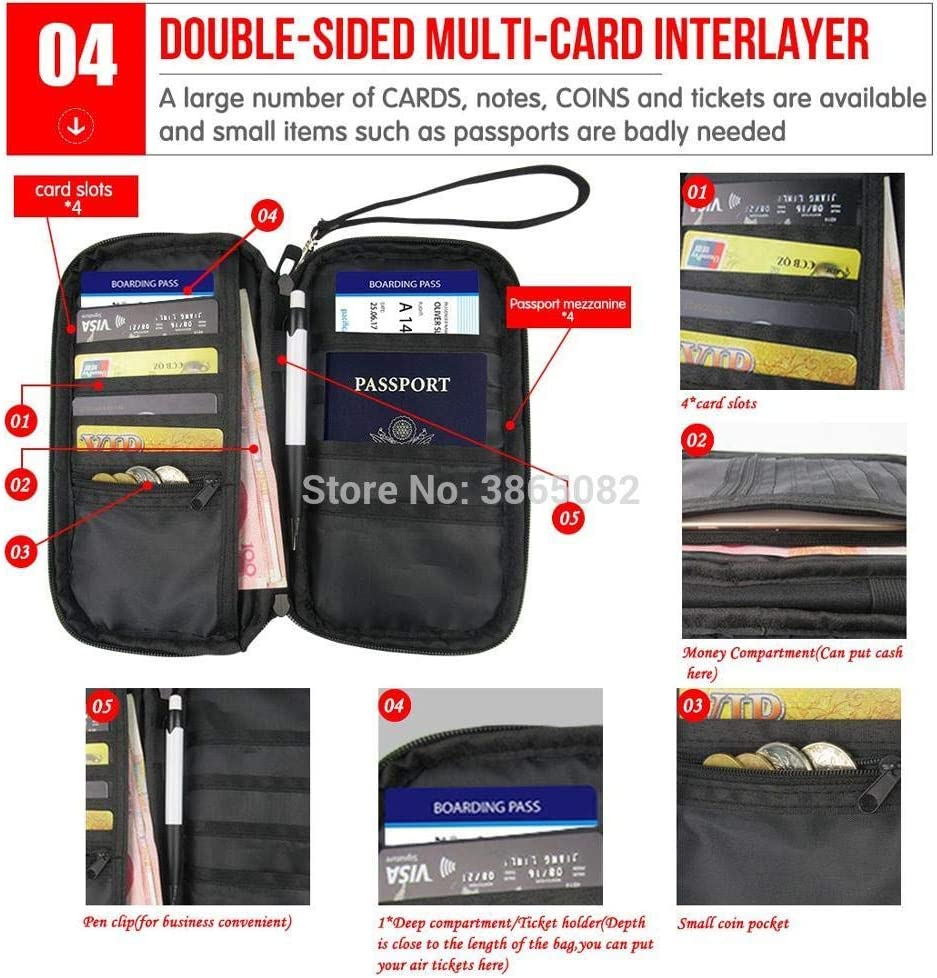 TZY Professional Passport Cover Hand Holding Bag Black and white texture Multifunction Card Package Holder Storage CC3596Z6