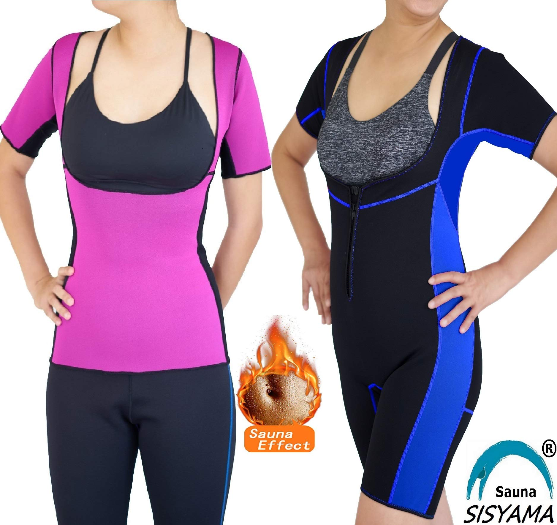 SISYAMA Open-Bust Sauna Hot Suit Weight Loss Workout Exercise Fitness Shaper Shapewear (Aqua/Shortsleeves, Small)