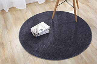 Microfiber Polyester Anti-Slip Round Rug Floor Mat Carpet Solid Color Area Rug Kids Play Rug for Home Bedroom Living Room Kitchen Nursery, Dia: 80cm, Black