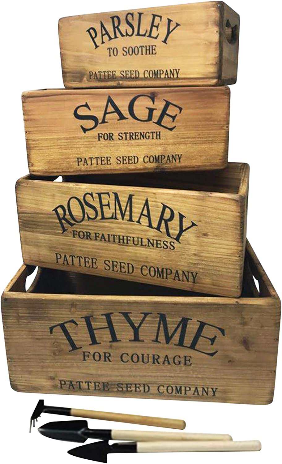 Herb Boxes – Wall Wood Décor Boxes Set of 4 – Fir Wood Nesting Wall Cubbies for Herbs, Flowers – Country Style Wooden Décor – Decorative Farmhouse Rustic Wall Mounted Cubbies