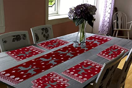 Glamkaart Jacquard Cotton Fabric Printed Table Mats with Runner (Red) - Set of 7