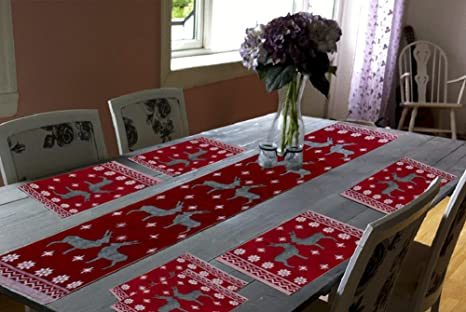 Glamkaart Jacquard Cotton Fabric Printed Table Mats With Runner Red