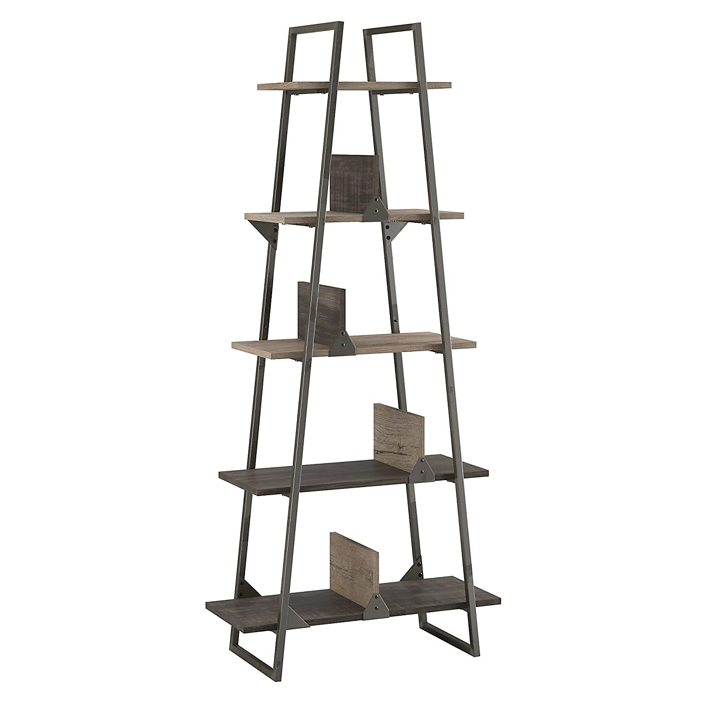 Bush Furniture Refinery A Frame Etagere Bookshelf in Rustic Gray