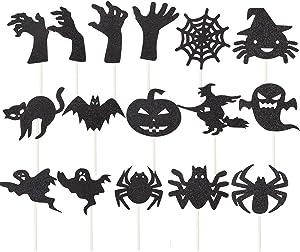 16 Pieces Halloween Cupcake Cake Topper,Bat, Spider, Black Cat, Zombie Hand Pumpkin Halloween Food Picks for Halloween Party Decorations
