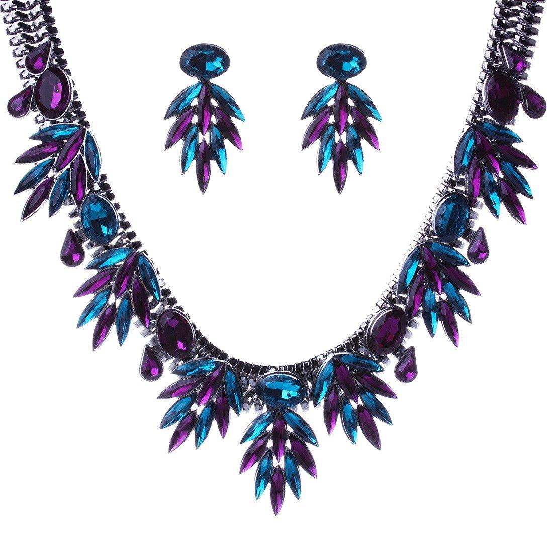 Qiyun Faceted Rhinestone Dangle Leaf Charm Fringe Bib Choker Collar Necklace Earrings Charme Feuille Facettes Frange Collier W005N2115