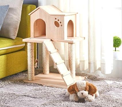Sólido de sisal gato madera columpio para gatos gran villa casa de madera juguete para gatos