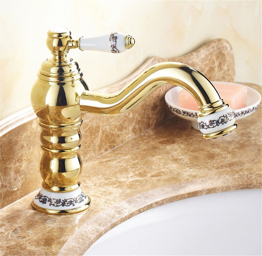 Fbict golden Faucet hot and Cold can be redated European Basin Faucet Height bluee and White Porcelain gold-Plated Antique Faucet for Kitchen Bathroom Faucet Bid Tap