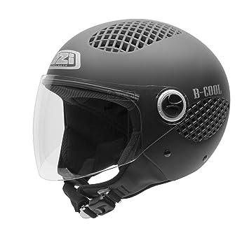 NZI 150243G093 B-Cool Matt Black Casco de Moto, Goma Negro, Talla 57