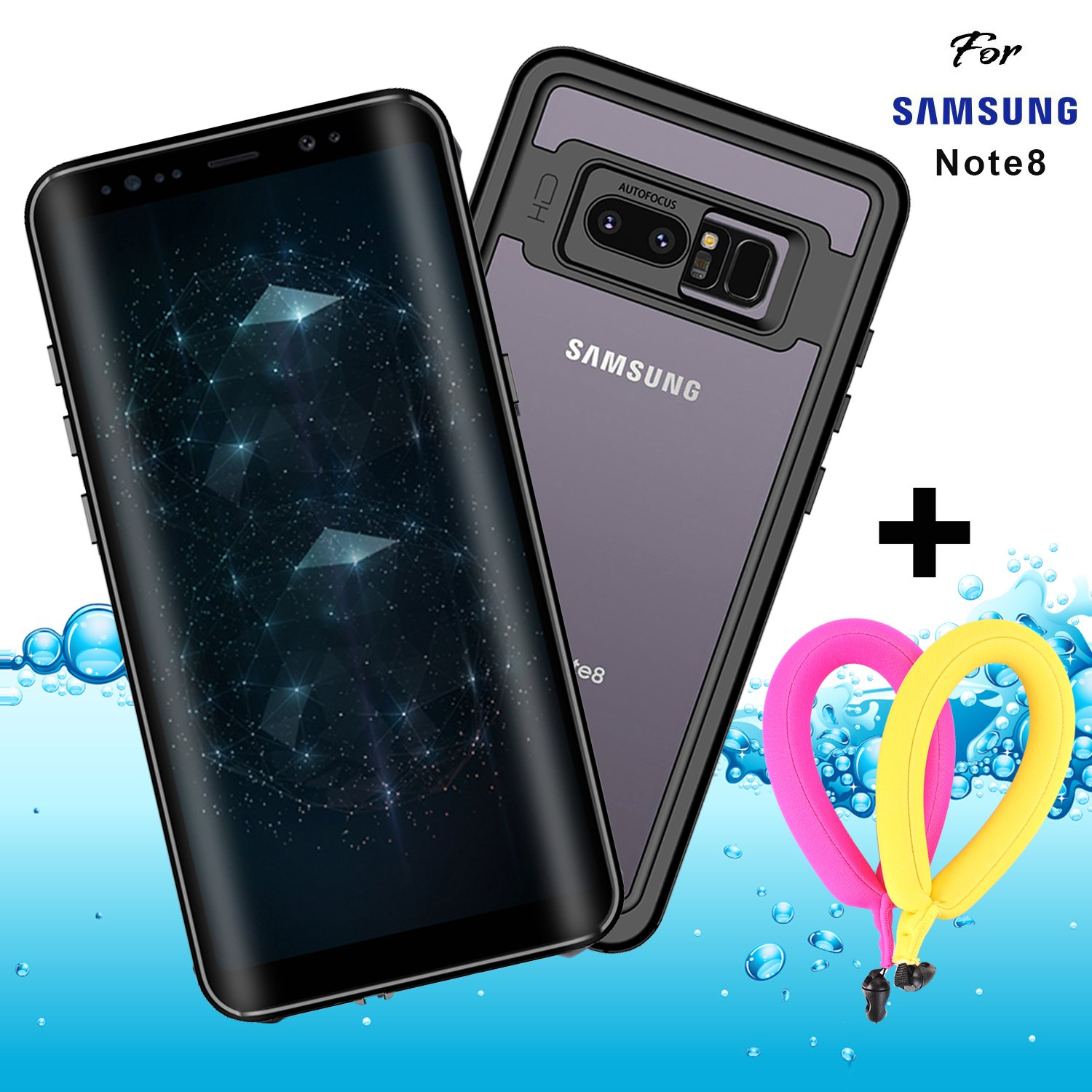 "Galaxy Note 8 Waterproof Case Clear with Floating Strap and Neck Lanyard IP68 GUYO Shockproof Full-body Rugged Transparent Cover with Built in Screen Protector for Samsung Galaxy Note8 6.3"" Black"