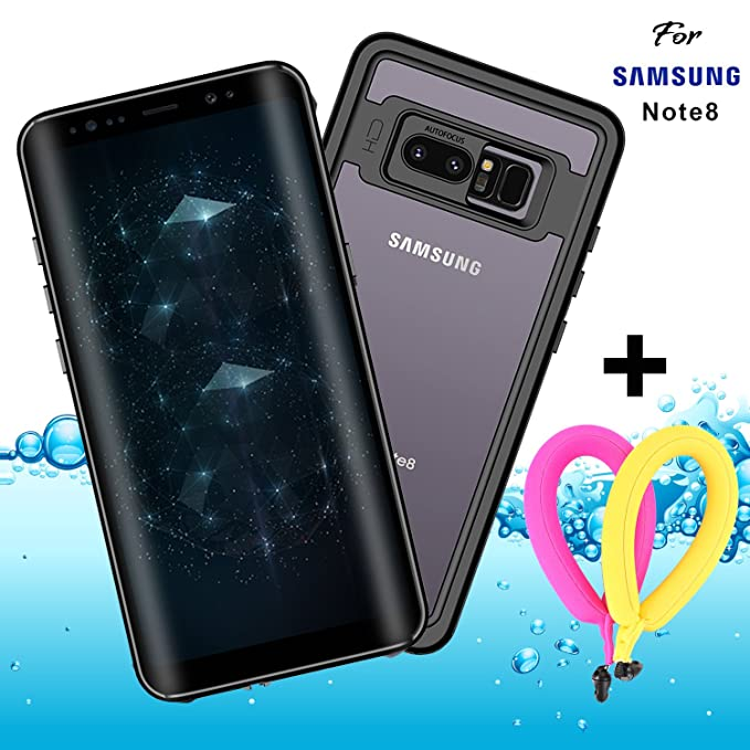 super popular a6a1f bcd94 Galaxy Note 8 Waterproof Case Clear with Floating Strap and Neck Lanyard  IP68 GUYO Shockproof Full-body Rugged Transparent Cover with Built in  Screen ...