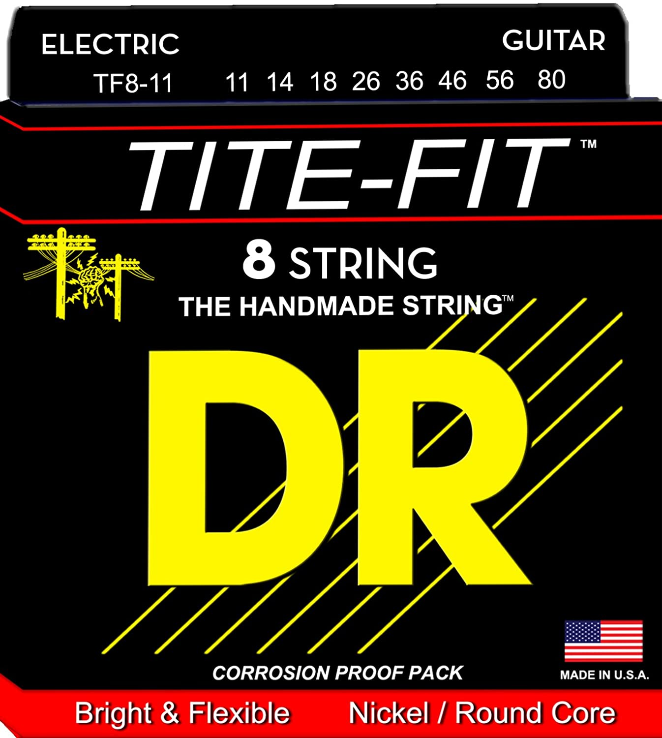 dr strings tf8 11 8 string tite fit nickel plated