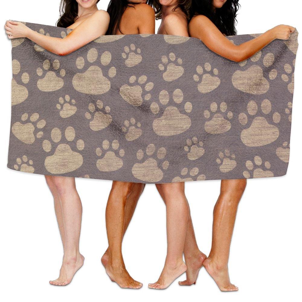 Paw Print On Wood Premium 100% Cotton Large Bath Towel, Pool & Bath Towel (80 ''x 130'') Natural, Soft, Quick Dry
