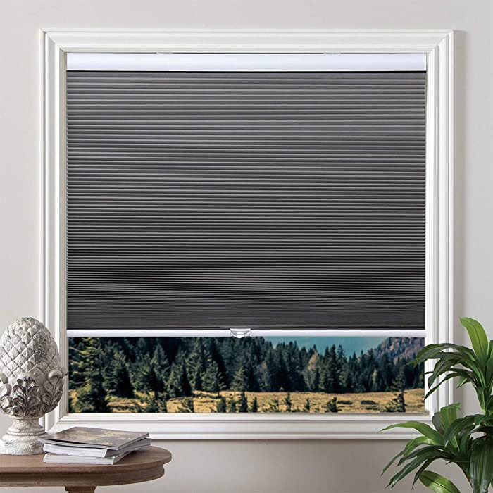 Blackout Shades Cordless Blinds Cellular Fabric Blinds Honeycomb Door Window Shades 24x38, Grey-White