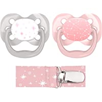 Dr. Brown's Advantage Pacifier with Pacifier Clip, 0-6M, Pink, 2 Count