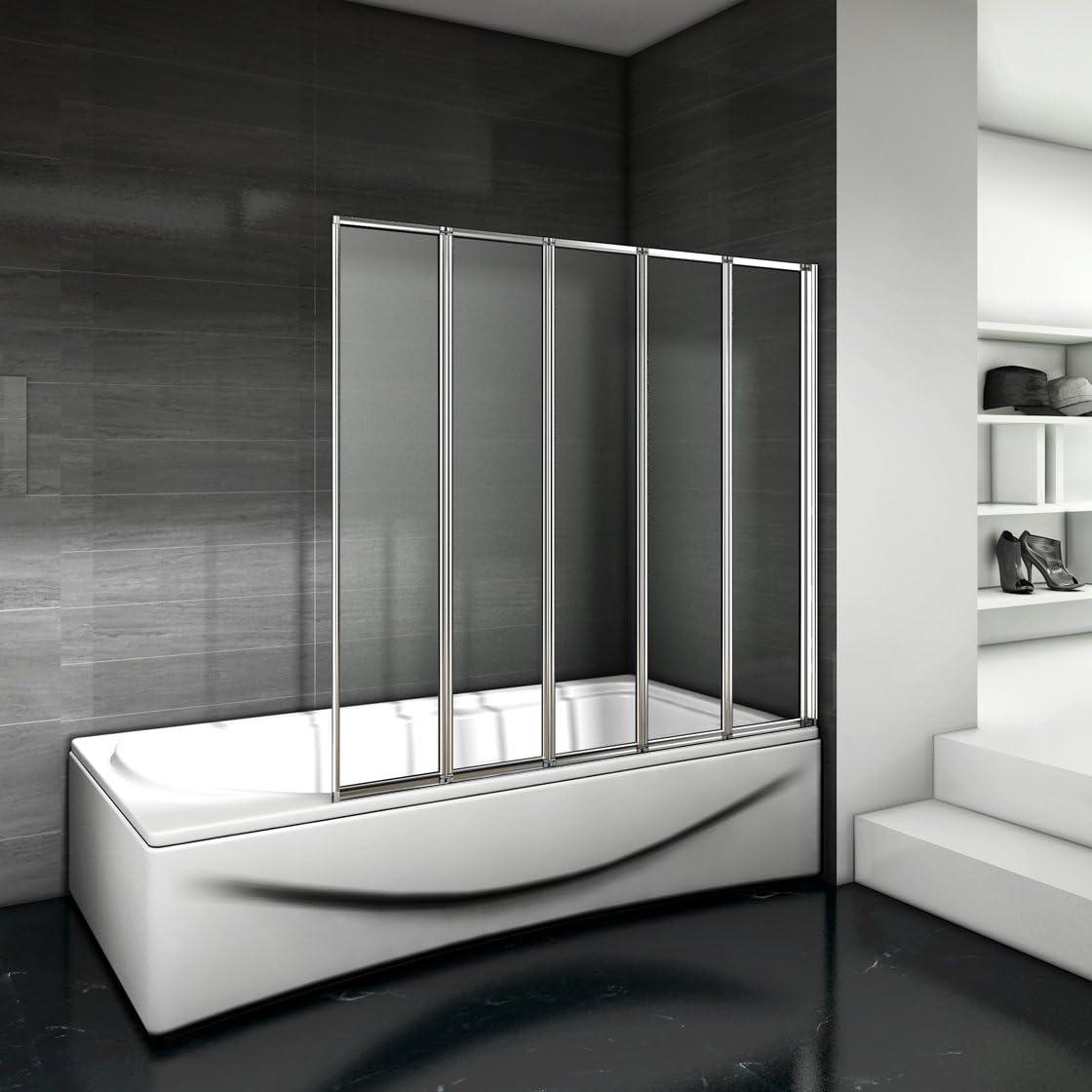 Mamparas pantalla de bañera biombo 5 veces plegable de Aica 1200 x 1400mm: Amazon.es: Bricolaje y herramientas