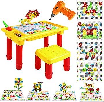 Foxom 263 Piezas Mosaicos Infantiles Pinchos Juego con Taladro Eléctrico y Mesa - Mosaico Rompecabezas 3D Bloques de Construcción Juguetes para Niños 3: Amazon.es: Juguetes y juegos