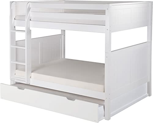 Camaflexi Panel Style Solid Wood Bunk Bed with Trundle, Full-Over-Full, Side Attached Ladder, White