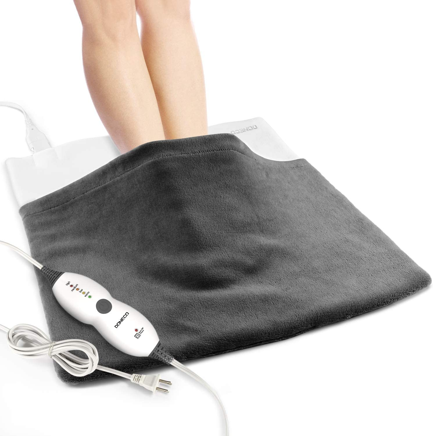 "DONECO King Size Heating Pad(22"" x 22""), Electric Foot Warmer with 4 Temperature Settings and Fast-Heating Technology - Extra Large for Feet, Back, Waist,Shoulders, Legs and Other Large Muscle Groups"