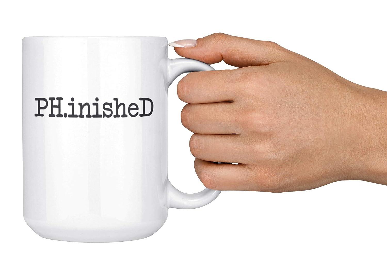 15oz Deluxe Double-Sided Coffee Tea Mug Artisan Owl PH.inisheD Funny PhD Graduation Gift Mug