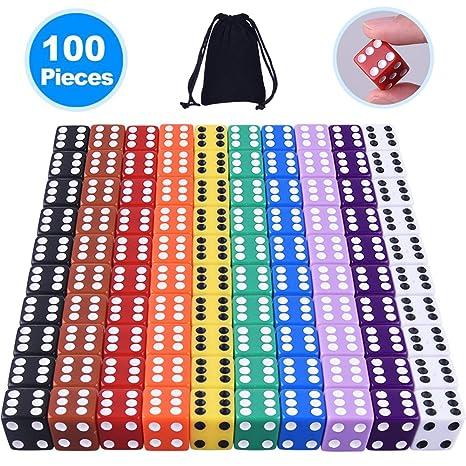 Austor 100 piezas, juego de dados, 10 colores Square Corner dados con Free bolsa de almacenamiento, jugar juegos como Tenzi, Farkle, Yahtzee, Bunco o ...