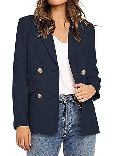 XQS Womens Double Breasted Long Sleeve Slim Short Coat Blazer Denim Jacket