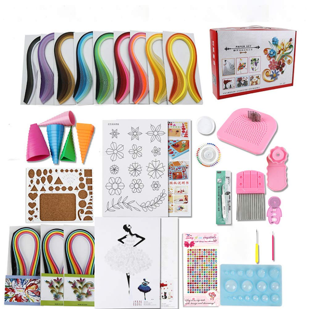 SZQLF Quilling Paper Set,Quilling Tools and Supplies,Paper Strips DIY Holiday Decoration Party for Beginners,Kids and Adults by SZQLF