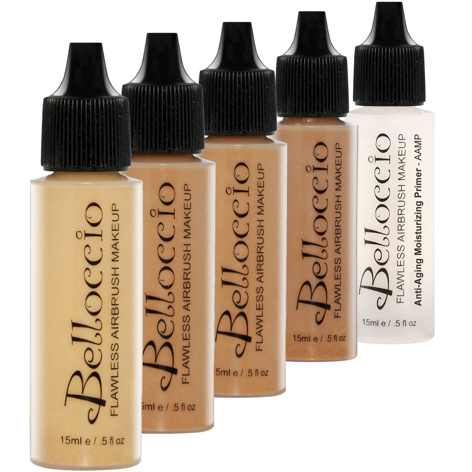 Belloccio Tan Color Shade Foundation Set - Professional Cosmetic Airbrush Makeup in 1/2 oz Bottles