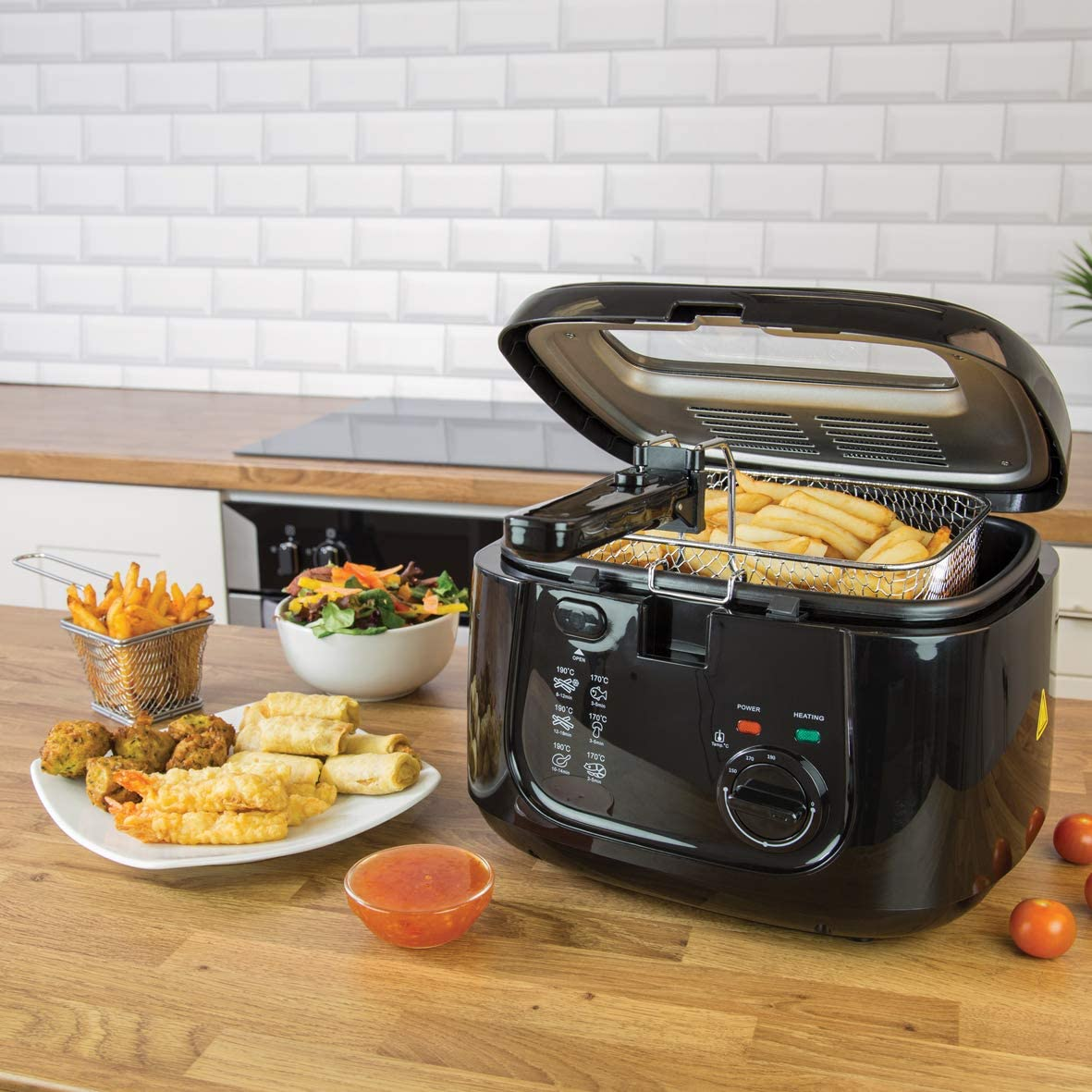 Quest 35239 Deep Fat Fryer with Viewing Window 2.5 Litre 1800W Black Black