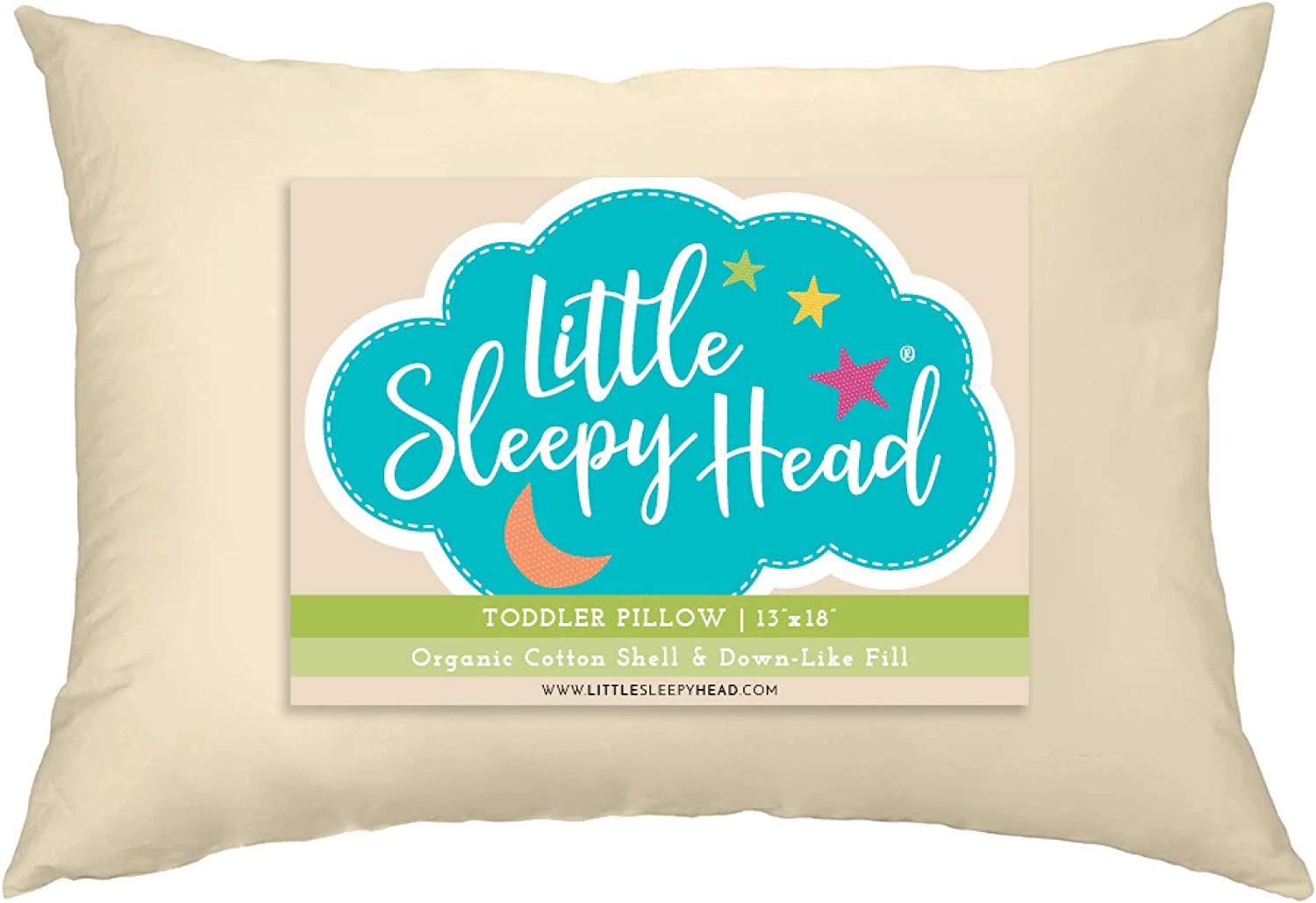 Little Sleepy Head Toddler Pillow, Organic Cotton, Down like Fill, Ivory 13 X 18