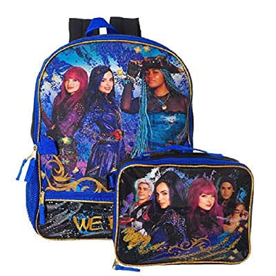 Disney Descendants 2 Girls Bookbag School Backpack Lunch Box SET: Clothing