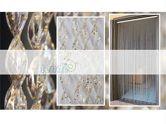 Mesures: SUR MESURE OU STANDARD 80X200, GLITTER NOIR ET ARGENT Made in Italy B/âtonnet DALUMINIUM - 90X200//95X200//100X220//120X230//130X240//150X250 12 Rideau//Moustiquaire en PVC mod/èle 21