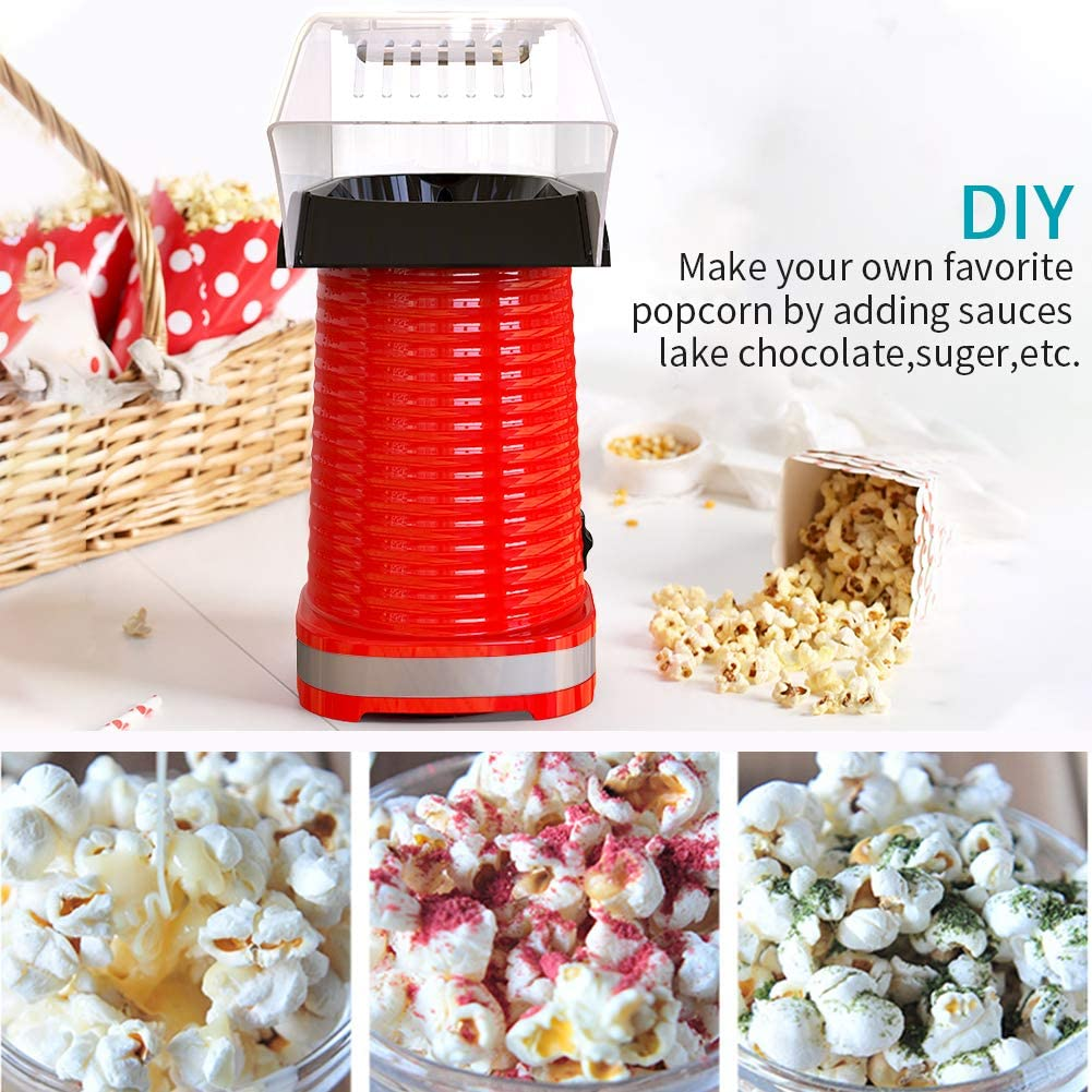 High Efficiency Healthy Snack and Less Calories DIY Your Own Taste-blue No Oil Needed Electric Hot Air Popcorn Popper Maker for Home Party Kids