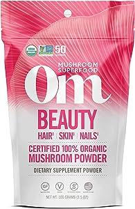 Om Organic Mushroom Superfood Powder, Beauty: Hair Skin Nails, 3.5 Ounce (50 Servings), Chaga, Cordyceps & Maitake , Antioxidants, Immune Support Supplement