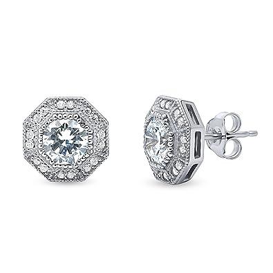 8d51fde75 Amazon.com: Rhodium Plated Sterling Silver Halo Art Deco Stud Earrings Set  w/Swarovski Zirconia: Jewelry