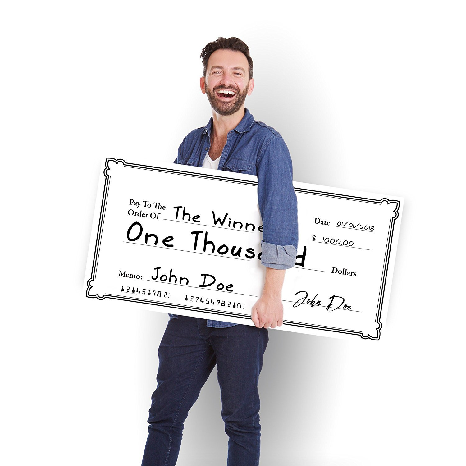 Giant Fake Check - 2' x 4' Coroplast Novelty Check for Fundraiser and Raffle Prizes - Big Blank Check - 24'' x 48'' Corrugated Plastic Oversized Presentation Check - White Check for Sweepstakes Winner
