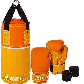 ScSPORTS DG01 Box-Set para niños Guantes de Boxeo Saco de Boxeo con 3 kg de Piel sintética 6-10 años