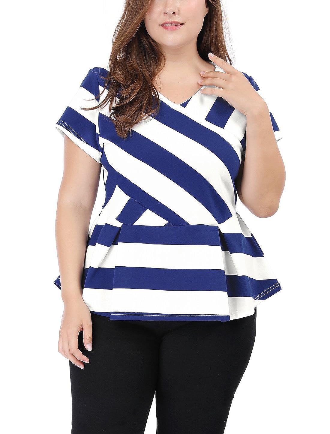 uxcell Agnes Orinda Women's Plus Size Short Sleeve Striped Shirt V-Neck Peplum Top g16112800ux0032