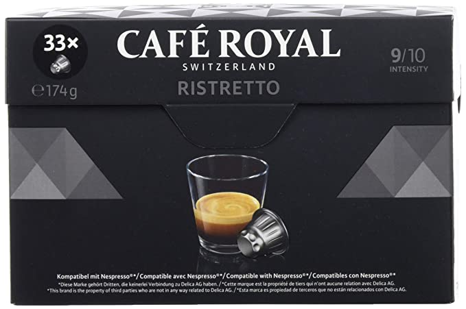 Café Royal Ristretto 132 cápsulas compatibles con Nespresso, Intensidad: 9 de 10 (Pack