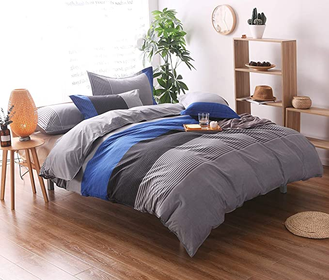 Double /& King Size Quality Textured Stripe Black Grey Duvet Cover Bedding Set in Single