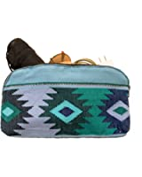 Large Guatemalan Native Comalapa Canvas and Leather All Purpose Dopp Kit Utility Bag (Cords, Chargers, Tools, School / Office Supplies) Handmade by Hide & Drink :: Sailor Blue