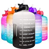 QuiFit 1 Gallon Water Bottle - with Straw & Motivational Time Marker Leak-Proof BPA Free Reusable Gym Sports Outdoor Large(12