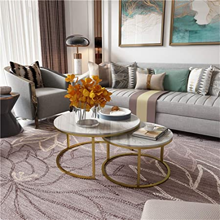 White Marble Coffee Table Set Of 2 Nesting Tables With Satin Gold