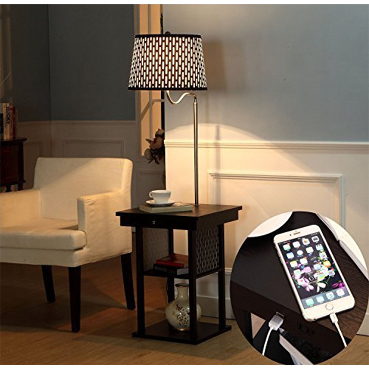 End Table With Built In Lamp - Brightech madison led floor lamp swing arm lamp w shade built in end table shelf includes 2 usb ports 1 us electric outlet bedside table lamp for